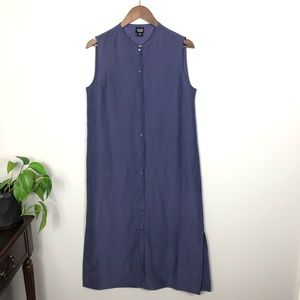 Eileen Fisher Navy Button Down Maxi Dress Medium